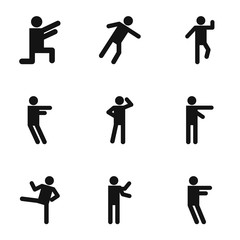 Movement icons set. Simple set of 9 movement vector icons for web isolated on white background