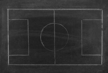 Blank football or soccer game strategy plan on blackboard texture