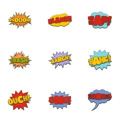 Cinema banner icons set. Cartoon set of 9 cinema banner vector icons for web isolated on white background