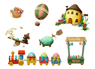 Holiday Set of festive Easter items for greeting card or poster.