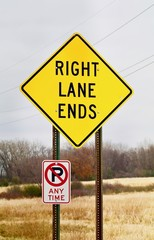 Right Lane Ends Warning Sign