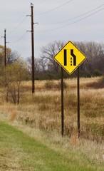 Merging Lanes Warning Sign