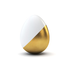 Gold and white pattern luxury easter egg. 3D Rendering