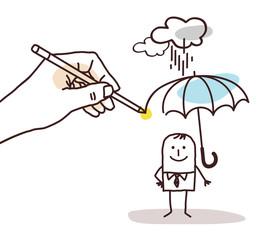 Drawing Big Hand - Cartoon Man with Umbrella