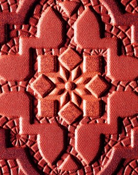 Close up of mandala design powdered pink eyeshadow