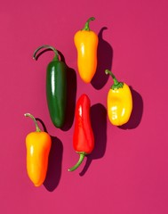 Five bright peppers on pink background