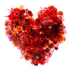 Heart-shaped bouquet made of red flowers and petals