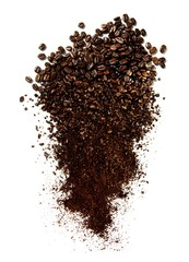 Whole and ground coffee beans on white background