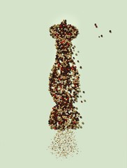 Peppercorns in shape of pepper mill