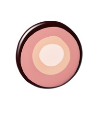 Circle of liquid cosmetics shades on white background
