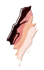 Smeared liquid cosmetics shades on white background