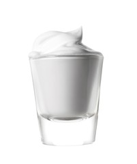 Shaving cream lotion in glass on white background