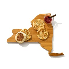 Toasted bread and jam on wooden cutting board