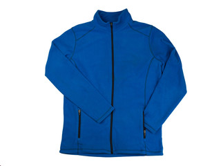 Blue fleece jacket. Isolate on white