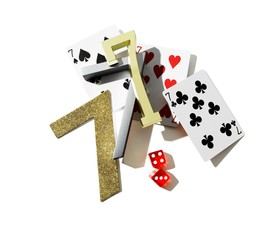 Lucky number 7 with playing cards and dice