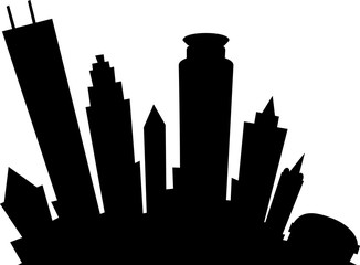 Cartoon silhouette of the city of Minneapolis, Minnesota, USA.