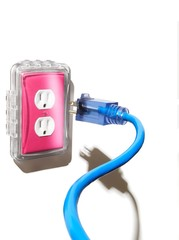 Blue plug and pink electrical socket