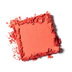 Square of pink powdered cosmetics on white background