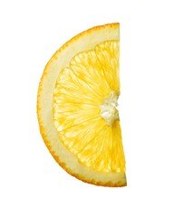 Close-up orange slice on white background