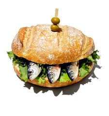 Sardines stuffed in burger against white background