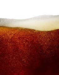 Close-up bubbles in beer with froth