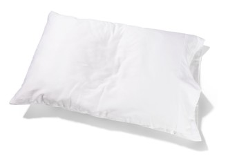 Clean white pillow on white background