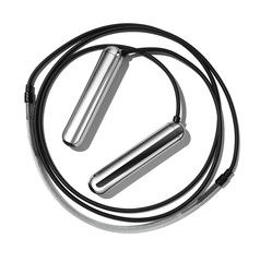 Black jump rope with silver handles on white background