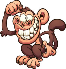 Cartoon monkey scratching its head. Vector clip art illustration with simple gradients. All in a single layer.