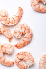 Close-up peeled shrimp on white background