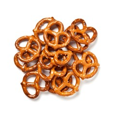 Pile of salted pretzels on white background