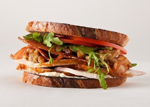 Close up of bacon, lettuce and tomato sandwich