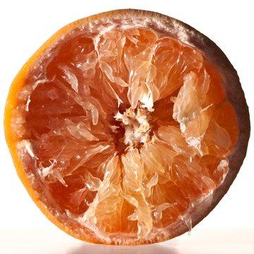 Close up of halved grapefruit