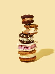 Stack of ice cream sandwiches cream background
