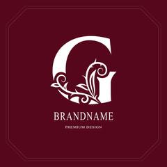 Elegant Capital letter G. Graceful floral style. Calligraphic beautiful logo. Vintage drawn emblem for book design, brand name, business card, Restaurant, Boutique, Hotel, Cafe. Vector illustration