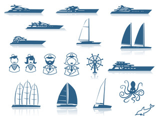 Set of Modern Yacht Silhouettes