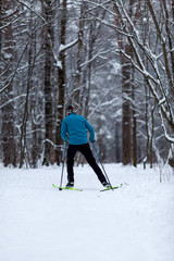 Photo from back of athlete skier in forest at winter