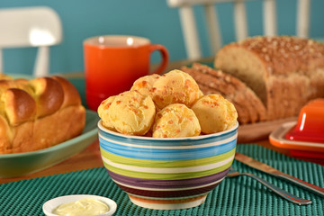 Cheese breads on breakfast table