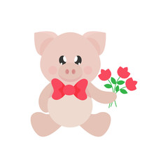 cartoon cute pig sitting with tie and flowers