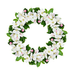 Round wreath with apple tree flowers