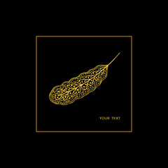 Vector illustration. Pen with a gold pattern on a black background in a gold frame.