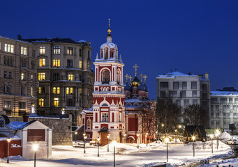 Moscow. The Church of St. George the Victorious on Pskov hill with a bell tower. Varvarka Street, Zaryadye. Russia
