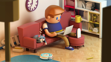 3d rendering of young man sitting on a couch and working on laptop computer at home. Cute working space. Cat sleeping on a sofa. Cartoon stylized.
