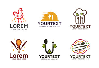 Collection of food and restaurant logos with cutlery and chicken. Set of logo or icon for food restaurant. Culinary logo template
