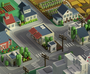 3d rendering of city landscape. Low poly colorful background. Isometric cartoon city scape. Different districts: simple rural cottages and fields, houses and stores, downtown with skyscrapers..