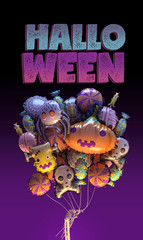 3d rendering of Happy Halloween greeting card. Stylized cartoon Halloween banner or poster. 3d font. Colorful balloons. Includes pumpkin, spider, web, zombie, skull, candies