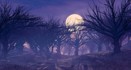 3d rendering of enchanted dark forest in the moonlight. Fantasy landscape with dried dead  trees without leaves. Dark mysterious night scene, background for Halloween poster.