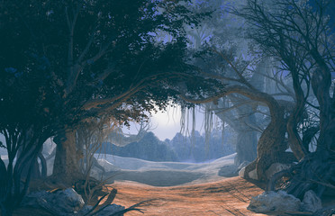 3d rendering of enchanted dark forest in the moonlight. Fairy path in the middle of .mystic magic deep forest. Scenic landscape. Dark mysterious night scene, background for Halloween poster