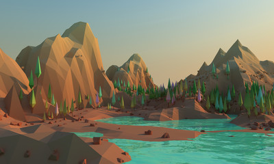 3d Low poly landscape whith mountains and water at foreground