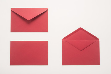 Red envelopes on white background