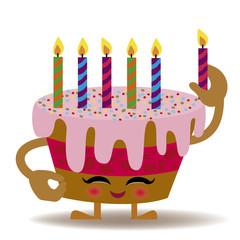 happy birthday kawaii cake